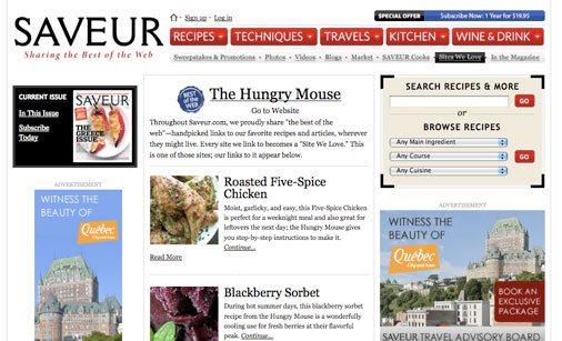 The Hungry Mouse is named to Saveur's Best of the Web