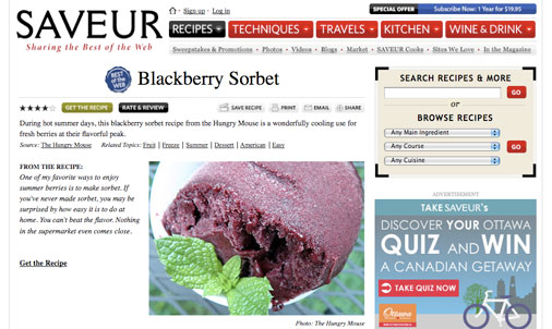 Saveur features my Blackberry Sorbet